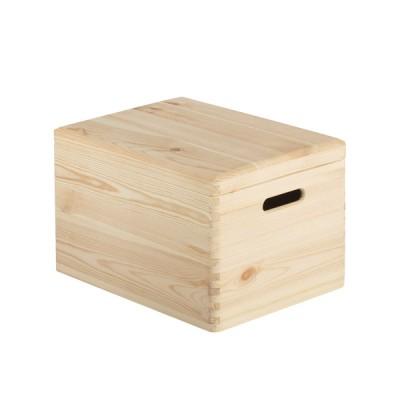 Caja con tapa de madera maciza de pino